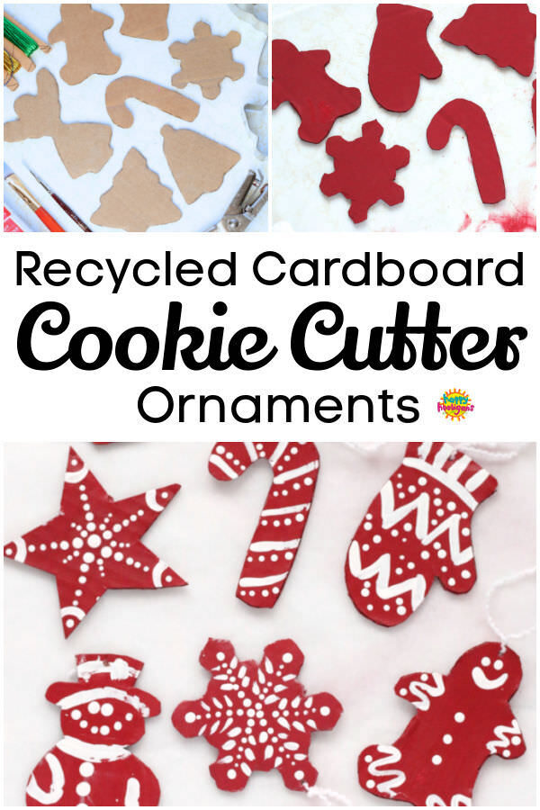 Red and White Painted Cardboard Cookie Cutter Christmas Ornaments