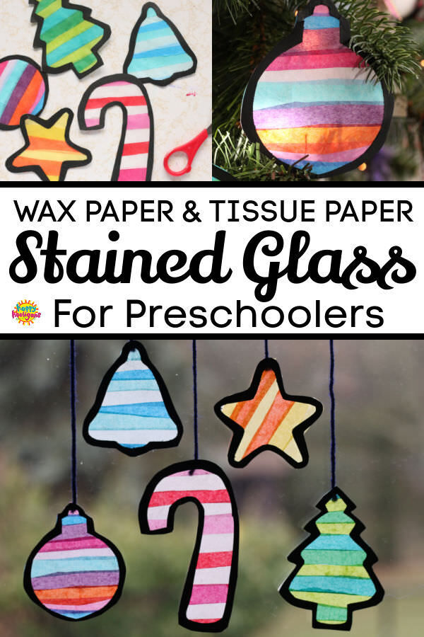 wax paper tissue paper stained glass christmas shapes for preschoolers