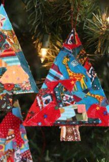 Fabric Scrap Christmas Tree Ornaments