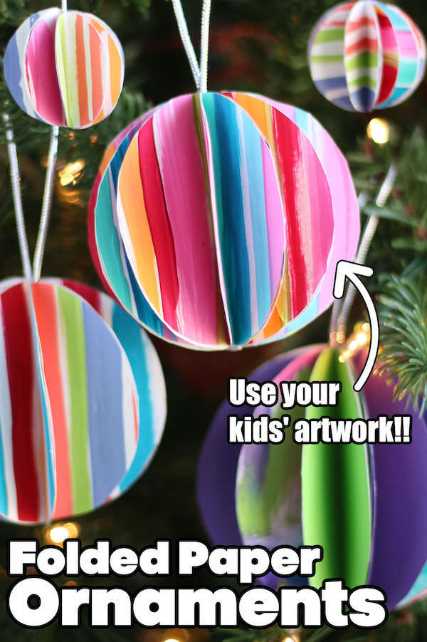 Folded Paper Ornaments with kids artwork