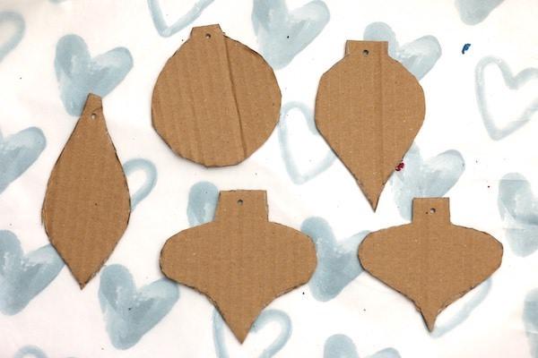 cardboard cut out like vintage ornaments