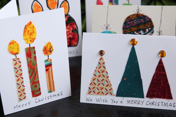 homemade Christmas cards made with fabric scraps
