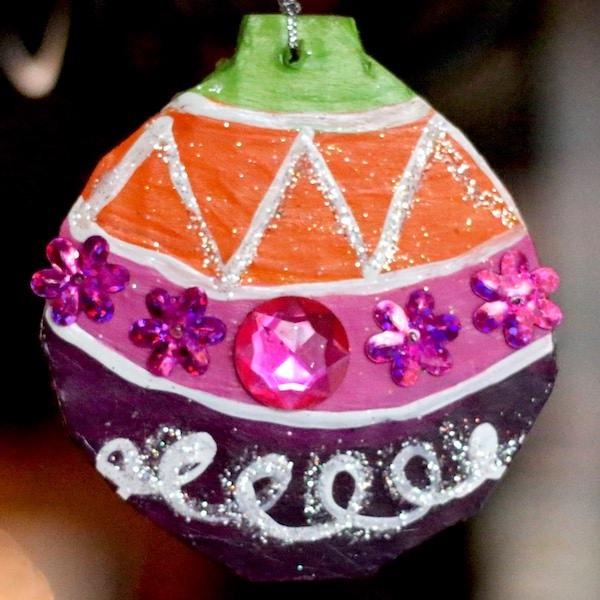 close up round cardboard ornament