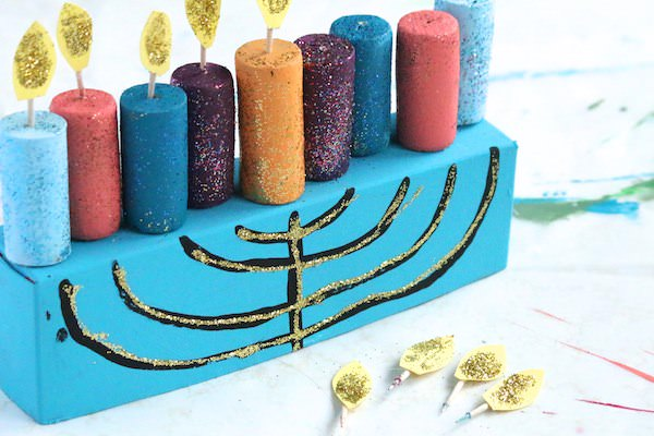 close up toothpick wicks with construction paper flames