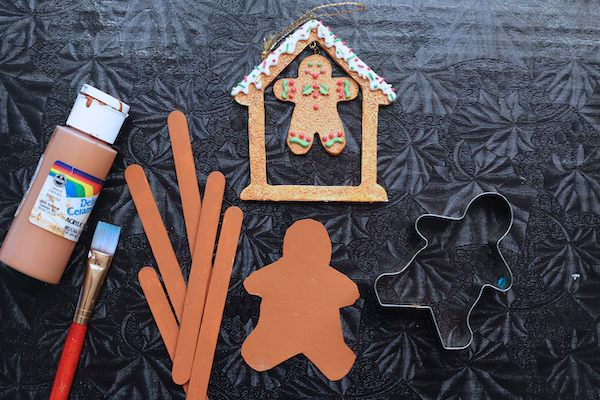 craft sticks and gingerbread cut out painted