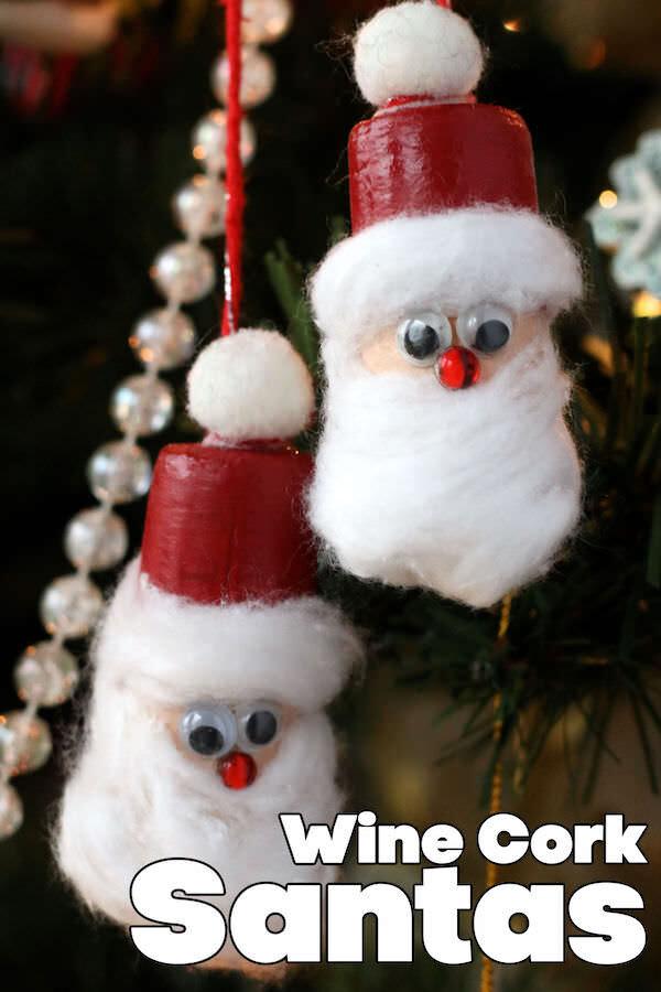 double wine cork santa ornament