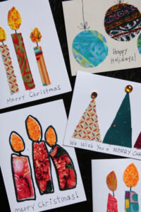 Christmas cards made from scraps of material