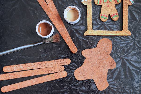 gingerbread pieces stippled with brown paint