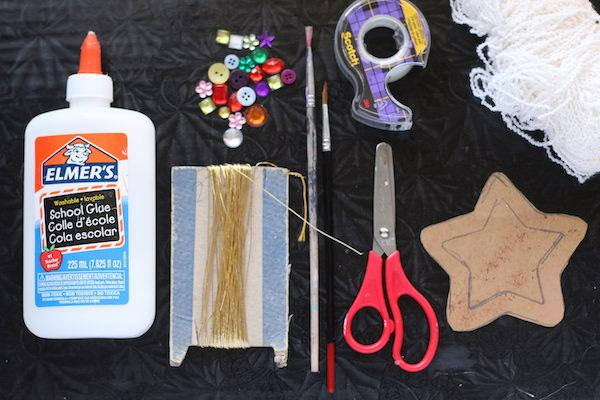 glue, thread, cardboard, scissors, tape, yarn, buttons/beads