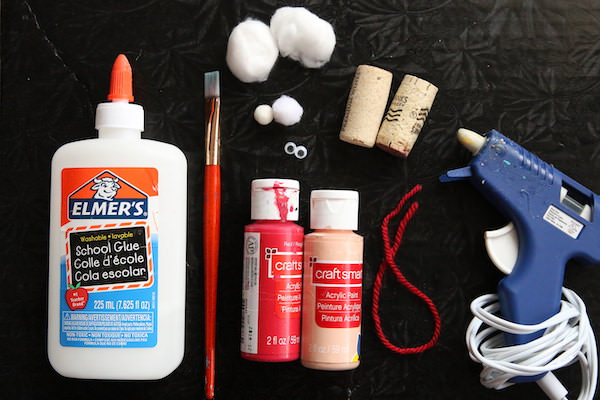 glue, paint, corks, cotton balls, pom pom, googly eyes