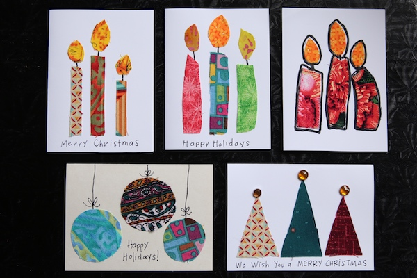 scrap fabric Christmas cards - candles, round ornaments and triangle Christmas trees