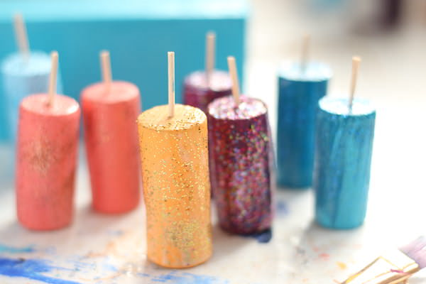 painted wine corks coated in glitter