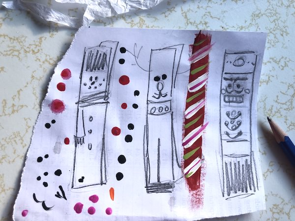 planning sketches clothespin reindeer, snowman, nutcracker, candy cane
