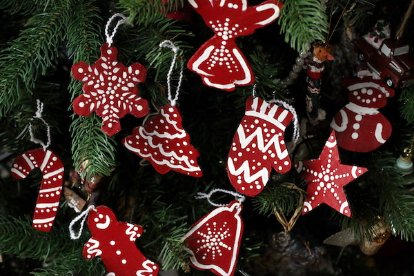 red and white cardboard ornaments horizontal