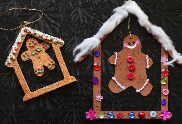 side by side gingerbread ornaments