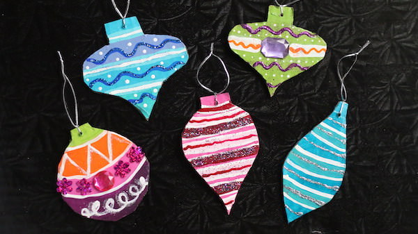 vintage style ornaments made from painted cardboard