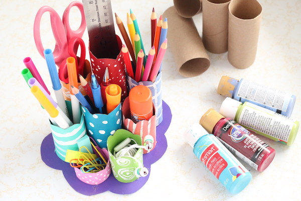 TP Roll Desk Caddy, with paint and cardboard rolls