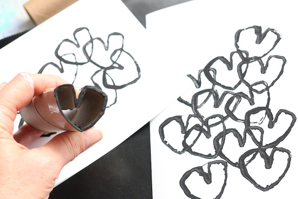 black hearts stamped with toilet paper roll