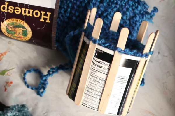 homemade knitting loom bread crumb canister