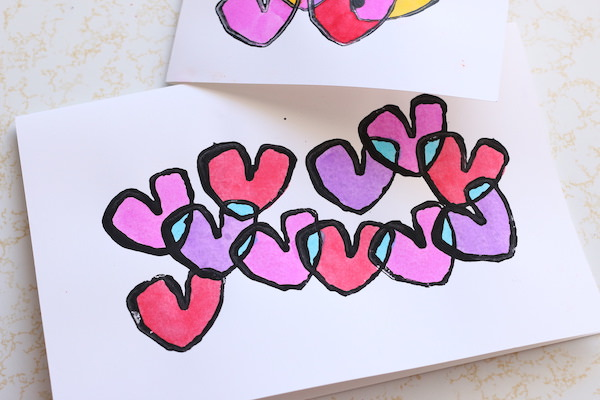 toilet roll heart valentines horizontal card