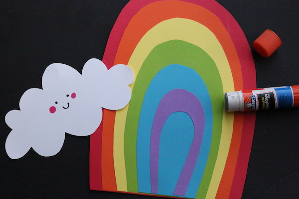layered paper rainbow with cloud