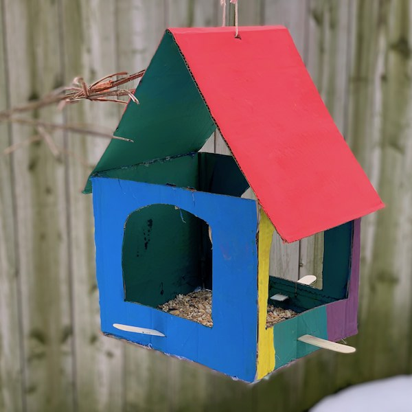 cardboard birdfeeder square