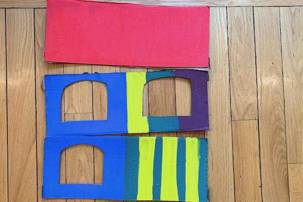 painted cardboard pieces birdfeeder